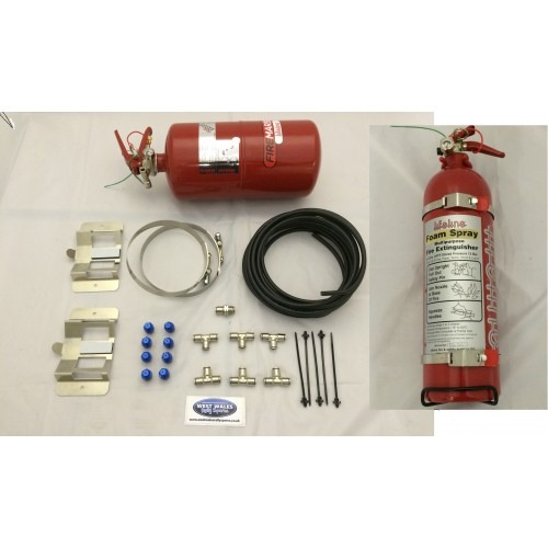 Lifeline plumbed in fire extinguisher 4ltr mechanical system zero 2000 Fire Marshal Rally Pack